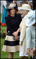 Princess Eugenie Talks to The Duchess of Cornwall at the Opening day of Royal Ascot 2013 Ascot, United Kingdom<br /> Tuesday, 18th June 2013,<br /> Picture by Andrew Parsons / i-Images
