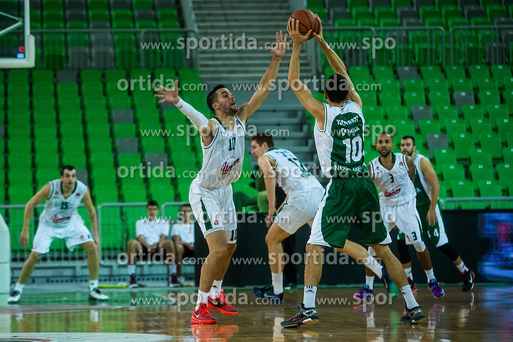 Erjon Kastrati of KK Krka vs Mitja Nikolic of KK Olimpija during basketball match between KK Union Olimpija Ljubljana and KK Krka in Round #5 of ABA League 2015/16, on October 11, 2015 in Arena Stozice, Ljubljana, Slovenia. Photo by Grega Valancic / Sportida