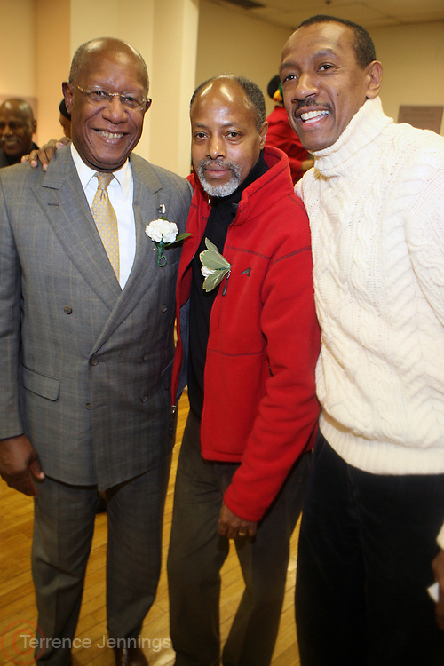 31 January 2011-New York, NY- l to r: Howard Dodson, Photographers Tyrone Rasheed and Lamar Burroughs at The Schomburg Center's Opening of Soulful Stitching and Harlem Views: Diasporian Visions Exhibitions held at the Schomburg Center for Research in Black Culture on January 31, 2011 in Harlem, New York City. Photo credit: Terrence Jennings