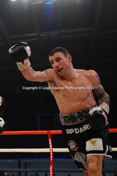 Peter McDonagh defeats John Hutchinson (pictured) to claim the Vacant Irish Light Middleweight Title on 15th March 2014 at the Rivermead Leisure Centre, Reading, Berkshire. Promoted by Hennessy Sports. © Leigh Dawney Photography 2014.