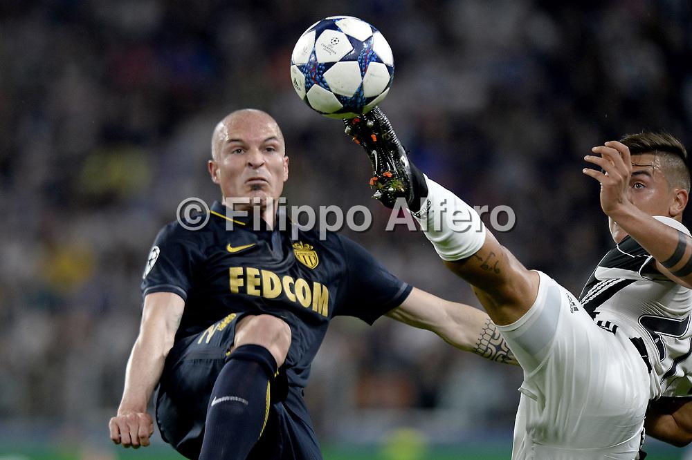 &copy; Filippo Alfero<br /> Juventus-Monaco, Champions League 2016/2017<br /> Torino, 09/05/2017<br /> sport calcio<br /> Nella foto: Paulo Dybala Juventus, Andrea Raggi Monaco