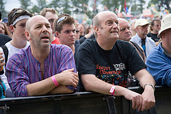 Crowd of people listening to musicians playing on stage at the Cropredy Festival  Fairport's Cropredy Convention  2005
