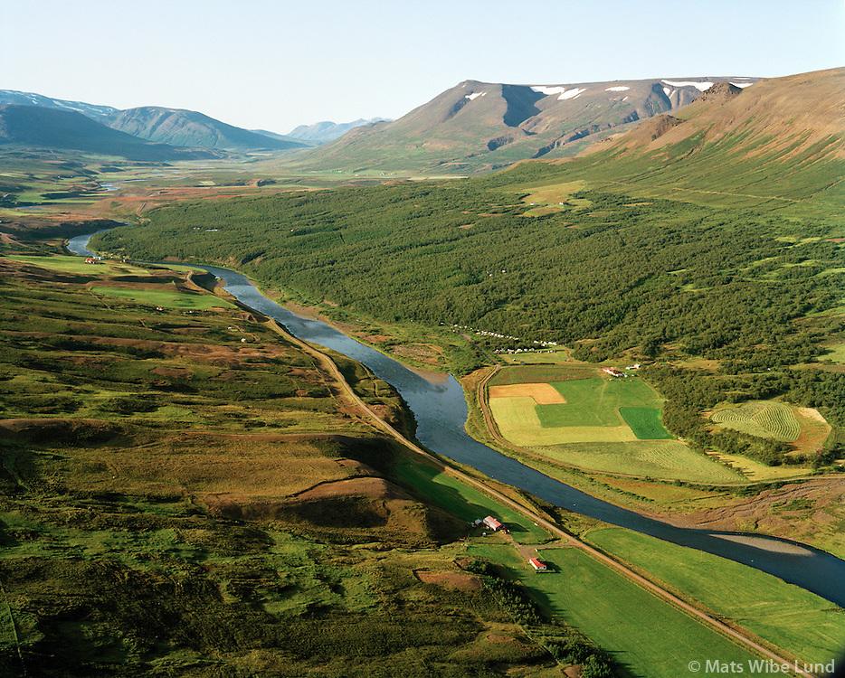 Mörk séð til norðurs, Fnjóská, Vaglaskógur, Fnjóskadalur. Þingeyjarsveit áður Hálshreppur / Mork viewing north, river Fnjoksa, Vaglaskogur forest, Fnjoskadalur.  Thingeyjarsveit former Halshreppur.