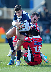 Bristol Inside Centre (#12) Ben Mosses is tackled by Plymouth Albion Inside Centre (#12) Bevon Armitage from the front - Photo mandatory by-line: Dougie Allward/JMP - Tel: Mobile: 07966 386802 31/03/2013 - SPORT - RUGBY - Memorial Stadium - Bristol. Bristol v Plymouth Albion - RFU Championship.
