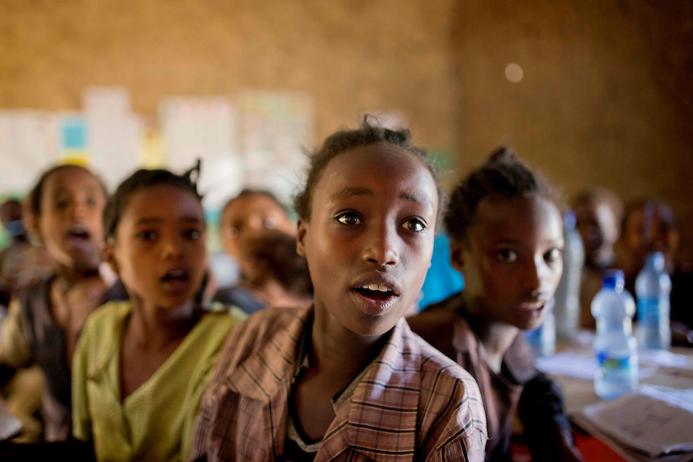 Ethiopia: Day 03 Aleta Chuko<br /> Children are eager to answer the questions.<br /> Photograph: Rosie Hallam