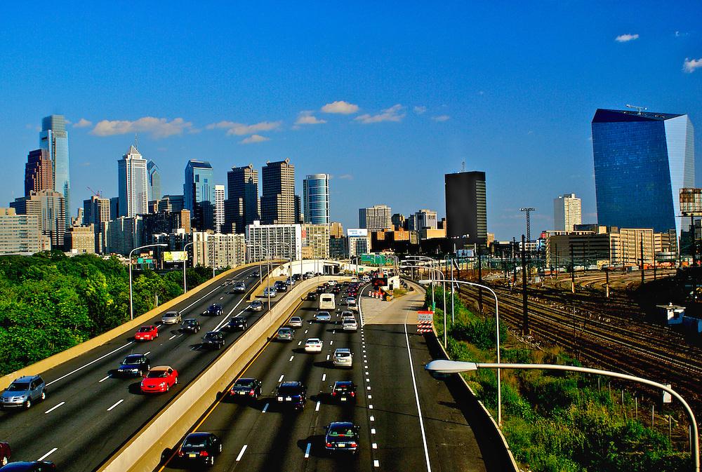 Philadelphia skyline includes Comcast and  Cira Building, Bell Atlantic Tower and BNY Mellon Center