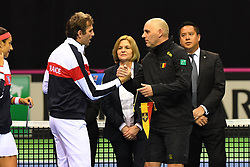 February 9, 2019 - Liege, BELGIQUE - LIEGE, BELGIUM - FEBRUARY 9 : Julien BENNETEAU captain of France, Johan VAN HERCK captain of Belgium pictured during the opening ceremony before the World Group First Round Fed Cup Game between Belgium and France on February 09, 2019 in Liege, Belgium, 9/02/2019 (Credit Image: © Panoramic via ZUMA Press)