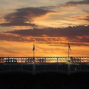 The sun setting over Yankee Stadium during the New York Yankees V New York Mets Subway Series Baseball game at Yankee Stadium, The Bronx, New York. 8th June 2012. Photo Tim Clayton