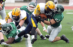 18 October 2014:  Sean Garvey wraps up Brandon Price during an NCAA division 3 football game between the Augustana Vikings and the Illinois Wesleyan Titans in Tucci Stadium on Wilder Field, Bloomington IL