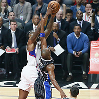 11 January 2017: LA Clippers center DeAndre Jordan (6) vies for the rebound with Orlando Magic guard Jodie Meeks (20) during the LA Clippers 105-96 victory over the Orlando Magic, at the Staples Center, Los Angeles, California, USA.