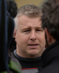 Mayo manager Stephen Rochford being interviewed by RTE after the Allianz division 1 match against Donegal at McHale Park on sunday last.<br /> Pic Conor McKeown