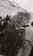 Girl smiling at the first outdoor rave up North, The Gio Goi Joy Rave run by Anthony and Chris Donnelly, Ashworth Valley, Rochdale, 5th August 1989.