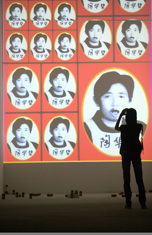 A visitor looks at a modern art installation in a gallery in Dashanzi, a trendy artisit's district in northern Beijing.