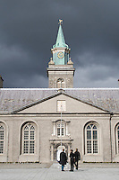 The courtyard and clock tower at The Irish Museum of Modern Art Royal Hospital Kilmainham in Dublin Ireland