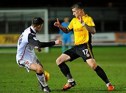 Scot Bennett of Newport County battles with Luke Conlan of Morecambe- Mandatory by-line: Nizaam Jones/JMP- 23/01/2018 - FOOTBALL - Rodney Parade - Newport, Wales- Newport County v Morecambe - Sky Bet League Two