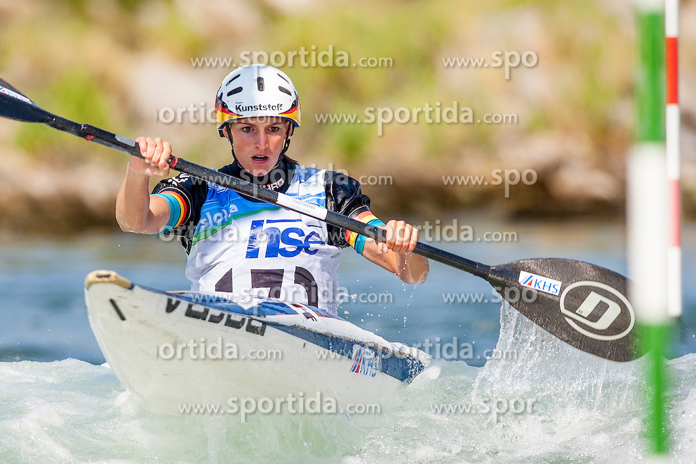 Ricarda Funk of Germany during Kayak(K1) Women semi-final race at ICF Canoe Slalom World Cup Sloka 2013, on August 18, 2013, in Tacen, Ljubljana, Slovenia. (Photo by Urban Urbanc / Sportida.com)