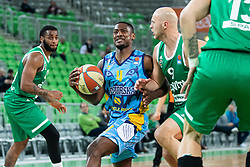 Sterling Dupree Gibbs  of KK Sixt Primorska and Mirko Mulalic of KK Cedevita Olimpija during basketball match between KK Cedevita Olimpija and KK Sixt Primorska in Round #17 of ABA League 2019/20, on January 26, 2020 in Arena Stozice, Ljubljana, Slovenia. Photo By Grega Valancic / Sportida