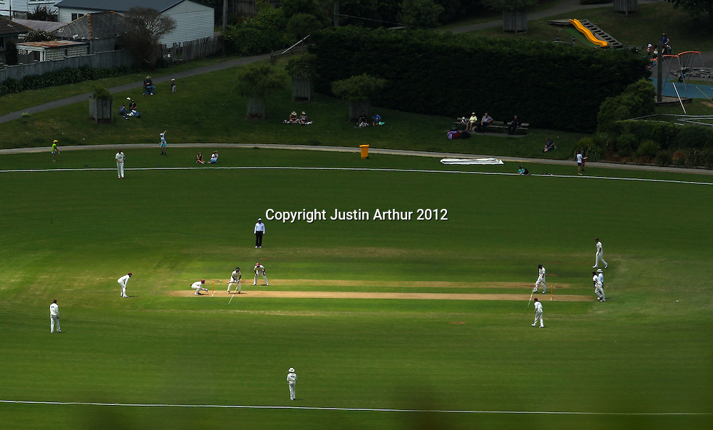 General view of play. Plunket Shield Cricket - Wellington v Northen Districts ,Karori Park, Wellington, New Zealand on Wednesday 19 December 2012. Photo: Justin Arthur / photosport.co.nz