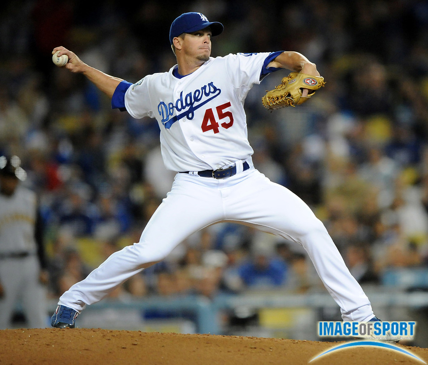 Apr 16, 2008; Los Angeles, CA, USA; Los Angeles Dodgers reliever Scott Proctor (45) pitches in the seventh inning of game against the Pittsburgh Pirates at Dodger Stadium.