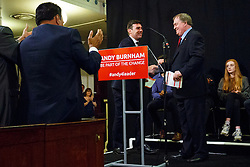 © Licensed to London News Pictures. 24/08/2015. London, UK. Former Deputy Prime Minister John Prescott and Labour Party leader candidate Andy Burnham shaking hands at a campaign rally at St Pancras Parish Church in London on Monday, August 24, 2015. Photo credit: Tolga Akmen/LNP