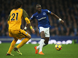 Matias Ezequiel Schelotto of Brighton and Hove Albion (L) and Yannick Bolasie of Everton in action - Mandatory by-line: Jack Phillips/JMP - 10/03/2018 - FOOTBALL - Goodison Park - Liverpool, England - Everton v Brighton and Hove Albion - English Premier League
