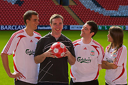 LIVERPOOL, ENGLAND - Thursday, September 6, 2007: Liverpool FC.TV's Matt Critchley, Paul Eaton, Peter McDowall and Claire Rourke at Anfield. (Photo by David Rawcliffe/Propaganda)