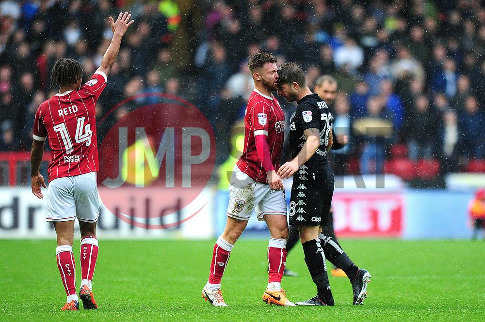Gaetano Berardi of Leeds United confronts Matty Taylor of Bristol City - Mandatory by-line: Dougie Allward/JMP - 21/10/2017 - FOOTBALL - Ashton Gate Stadium - Bristol, England - Bristol City v Leeds United - Sky Bet Championship
