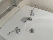 clean sink with soap dispenser