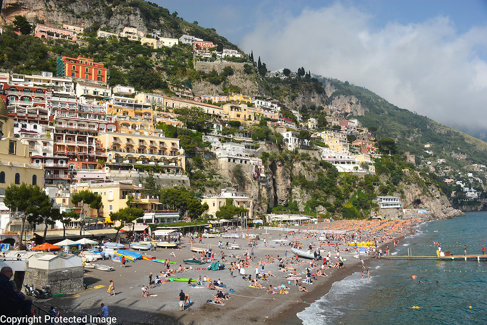 Spiaggia Grande, in Positano, Italy along the stunning Amalfi Coast
