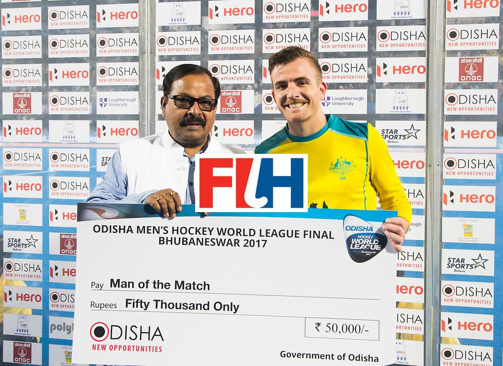BHUBANESWAR - The Odisha Men's Hockey World League Final . Match ID 05 . Germany  v Australia . player of the match, Jake Whetton (Aus)   WORLDSPORTPICS COPYRIGHT  KOEN SUYK
