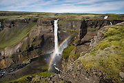 Haifoss ('High Waterfall') is a waterfall in Fossardalur valley, innermost of Thjorsardalur valley in South Iceland. Haifoss is held to be Iceland's second-high.Háifoss