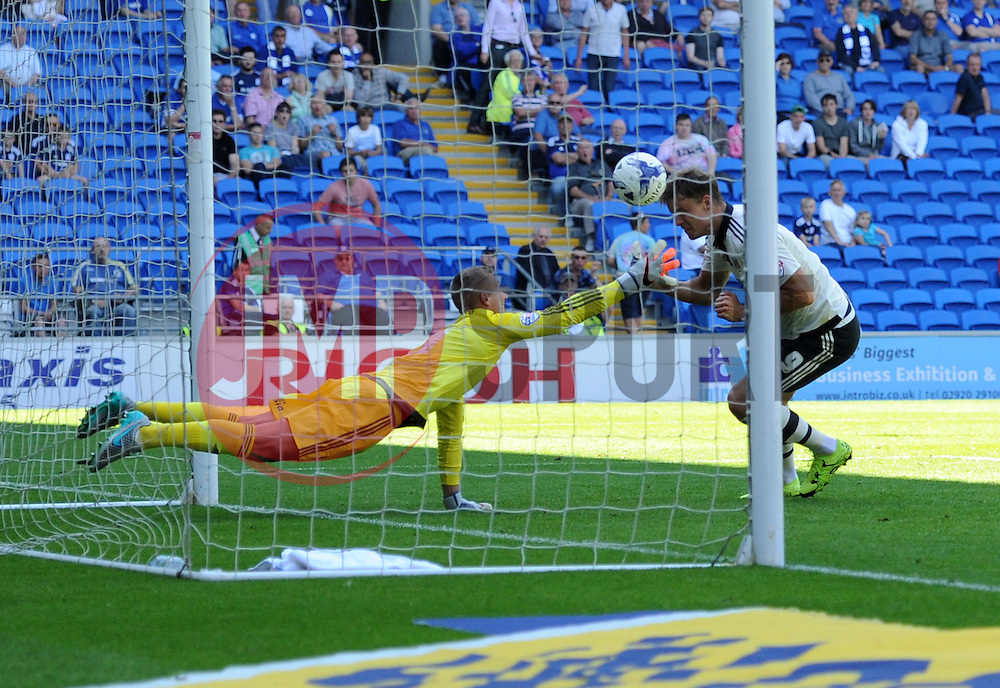 Matt Smith scores for Fulham against Cardiff City - Mandatory by-line: Paul Knight/JMP - Mobile: 07966 386802 - 08/08/2015 -  FOOTBALL - Cardiff City Stadium - Cardiff, Wales -  Cardiff City v Fulham - Sky Bet Championship