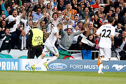 23.04.2014, Estadio Santiago Bernabeu, Madrid, ESP, UEFA CL, Real Madrid vs FC Bayern Muenchen, Halbfinale, Hinspiel, im Bild Real Madrid's Karim Benzema scores // Real Madrid's Karim Benzema scores during the UEFA Champions League Round of 4, 1st Leg Match between Real Madrid vs FC Bayern Munich at the Estadio Santiago Bernabeu in Madrid, Spain on 2014/04/23. EXPA Pictures &copy; 2014, PhotoCredit: EXPA/ Alterphotos/ Caro Marin<br /> <br /> *****ATTENTION - OUT of ESP, SUI*****