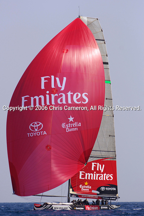 Emirates Team New Zealand sail NZL84 for the first time in Valencia. 12/4/2006