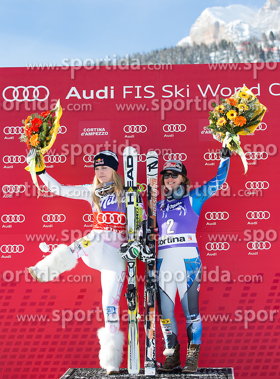 19.01.2013, Olympia delle Tofane, Cortina d Ampezzo, ITA, FIS Weltcup Ski Alpin, Abfahrt, Damen, Podium, im Bild Lindsey Vonn (USA, Platz 1) und Leanne Smith (USA, Platz 3) // 1st Place Lindsey Vonn of the USA and 2nd Place Leanne Smith of the USA celebrate on podium during ladies Downhill of the FIS Ski Alpine World Cup at the Olympia delle Tofane course, Cortina d Ampezzo, Italy on 2013/01/19. EXPA Pictures © 2013, PhotoCredit: EXPA/ Johann Groder