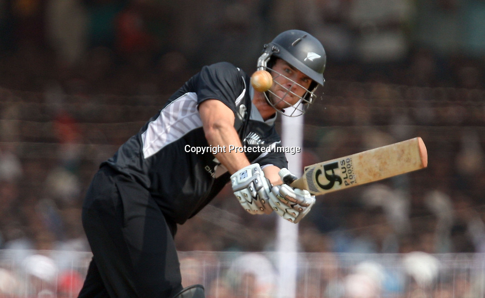 New Zealand batsman James Franklin plays a shot against India during the 3rd ODI India vs New Zealand Played at Reliance Stadium, Vadodara<br /> 4 December 2010 (50-over match)