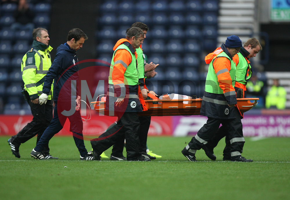 Nico Yennaris of Brentford is stretchered off the pitch after getting injured - Mandatory by-line: Jack Phillips/JMP - 28/10/2017 - FOOTBALL - Deepdale - Preston, England - Preston North End v Brentford - Football League Championship