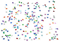 party confetti photographed on a white background.