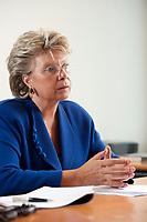 17 SEP 2010, BERLIN/GERMANY:<br /> Viviane Reding, EU-Kommissarin fuer Justiz, Grundrechte und Buergerschaft, waehrend einem Interview, Vertretung der Europaeischen Kommision in Berlin<br /> IMAGE: 20100917-01-038