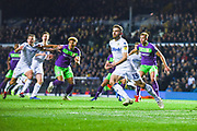 Stuart Dallas of Leeds United (15) looks to meet the corner ball during the EFL Sky Bet Championship match between Leeds United and Bristol City at Elland Road, Leeds, England on 24 November 2018.