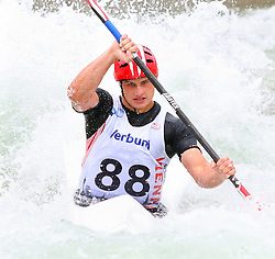 27.06.2015, Verbund Wasserarena, Wien, AUT, ICF, Kanu Wildwasser Weltmeisterschaft 2015, K1 men, im Bild Branislav Mitrovic (BIH) // during the final run in the men's K1 class of the ICF Wildwater Canoeing Sprint World Championships at the Verbund Wasserarena in Wien, Austria on 2015/06/27. EXPA Pictures © 2014, PhotoCredit: EXPA/ Sebastian Pucher