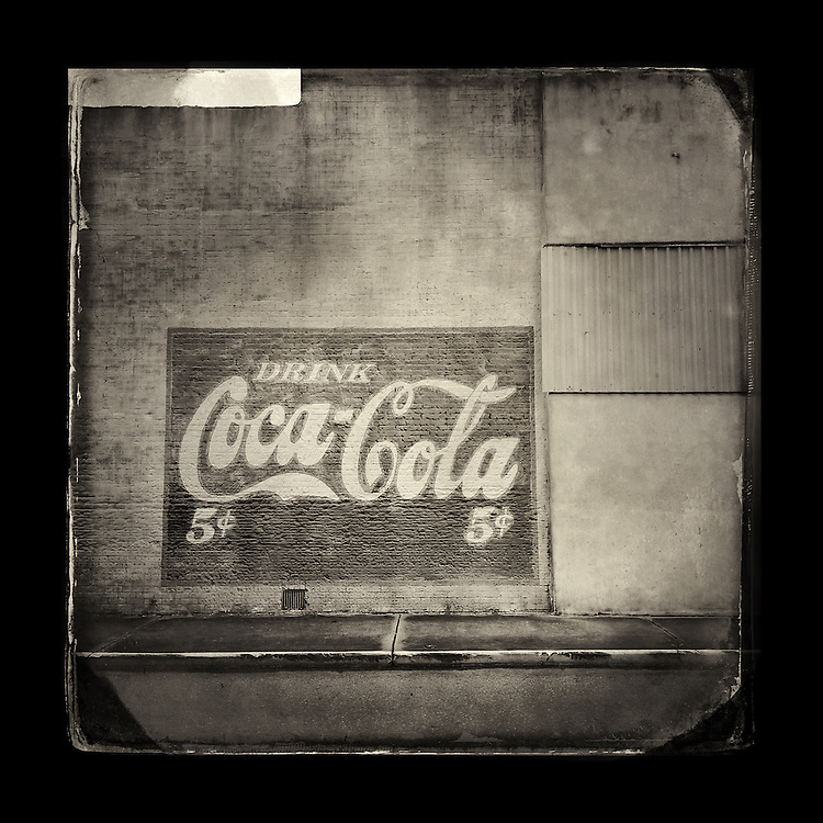 "Charles Blackburn image of a Coca Cola sign in Hope, AR. 5x5"" print."