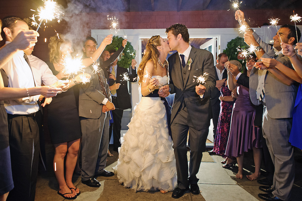Sparkler exit at this Camden Yacht Club Wedding.  Image by Maine Wedding Photographer Michelle Turner.