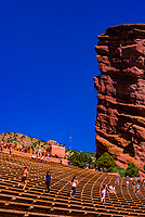 Red Rocks Amphitheatre is not only a world-famous concert venue, it is also a very popular place to work out. Runners can run the stairs either vertically or horizontally. Morrison, Colorado USA.
