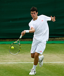 LONDON, ENGLAND - Monday, July 2, 2012: Pol Toledo Bague (ESP) during the Boys' Singles 1st Round match on day seven of the Wimbledon Lawn Tennis Championships at the All England Lawn Tennis and Croquet Club. (Pic by David Rawcliffe/Propaganda)