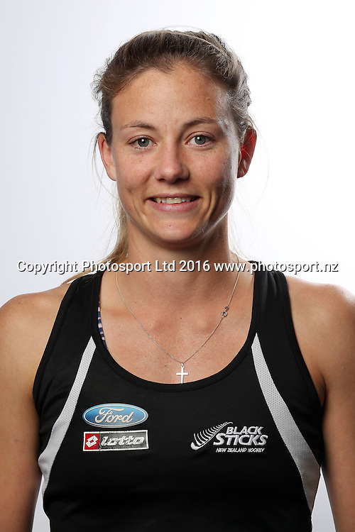 Shiloh Gloyn, New Zealand womens Black Sticks hockey team headshots. North Harbour Hockey Stadium, Albany, Auckland. 23 May 2016. Copyright Image: William Booth / www.photosport.nz
