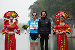 Sofia Bertizzolo (ITA) receives the UCI Women's WorldTour Youth jersey at GREE Tour of Guangxi Women's World Tour 2018, a 145.8 km road race in Guilin, China on October 21, 2018. Photo by Sean Robinson/velofocus.com