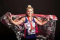 Helen Skelton-Myler, TV presenter Holiday Hit Squad (ex Blue Peter). Portraits of celebrities shortly after they have crossed the line to finish the Virgin Money London Marathon 2014 at the finish line on Sunday 13 April 2014<br /> Photo: Dillon Bryden/Virgin Money London Marathon<br /> media@london-marathon.co.uk