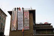 Roma 3 Marzo 2012.Manifestazione No Tav in  solidarieta' con  gli abitanti della Val Susa e per la liberazione degli  arrestati.I lavoratori di  Trenitalia dei convogli notturni licenziati