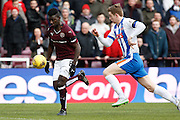 Hearts FC Midfielder Prince Buaben making a strong run during the Ladbrokes Scottish Premiership match between Heart of Midlothian and Kilmarnock at Tynecastle Stadium, Gorgie, Scotland on 27 February 2016. Photo by Craig McAllister.